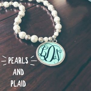 Jewelry - Monogram pearl necklace AND Blanket scarf bundle